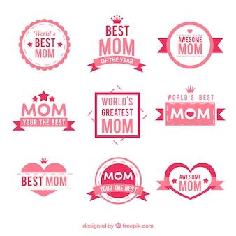 Kolekcja naklejek dzień matki