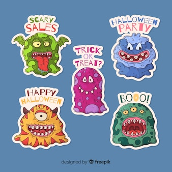 Kolekcja naklejek halloween potwora