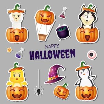 Kolekcja naklejek halloween z uroczą alpaką, wilkiem, pisklęciem i pingwinem