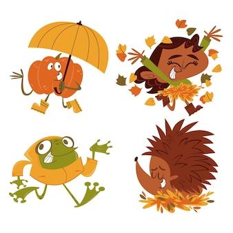 Kolekcja naklejek jesiennych z kreskówek retro