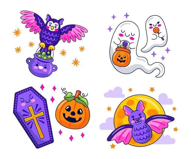 Kolekcja naklejek kawaii halloween