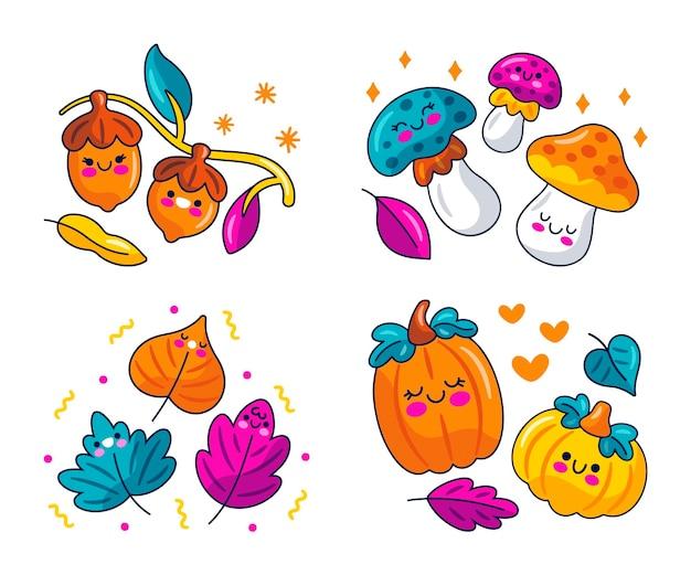 Kolekcja naklejek kawaii jesienna