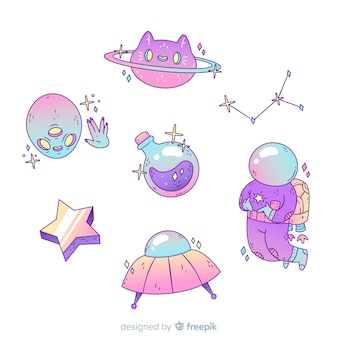 Kolekcja naklejek kosmicznych kreskówka