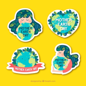 Kolekcja naklejek matka ziemi dzień