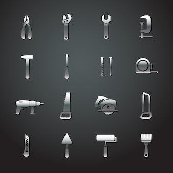 Kolekcja naklejek metalowych narzędzi