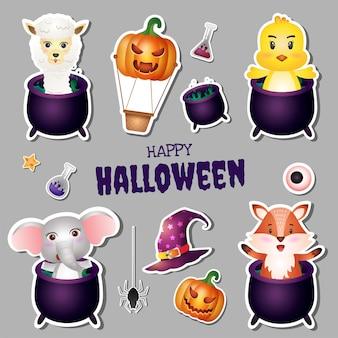 Kolekcja naklejek na halloween z uroczą alpaką, pisklęciem, słoniem i lisem
