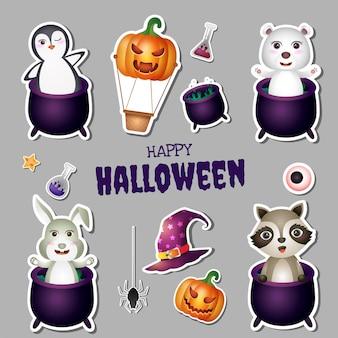 Kolekcja naklejek na halloween z uroczym pingwinem, niedźwiedziem polarnym, królikiem i szopem