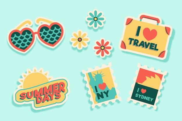 Kolekcja naklejek na podróże / wakacje w stylu lat 70