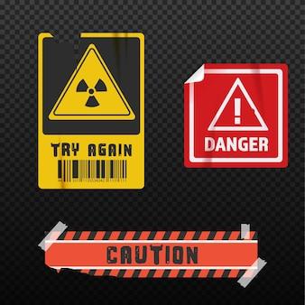 Kolekcja naklejek o niebezpieczeństwie. stary szablon nowoczesnych projektów