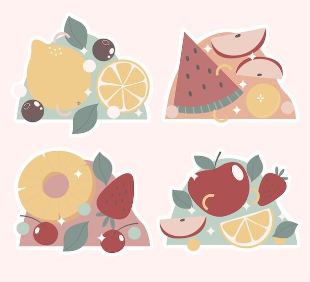Kolekcja naklejek owoców i warzyw