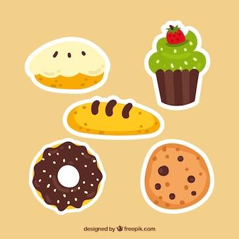 Kolekcja naklejek piekarniczych w stylu 2d