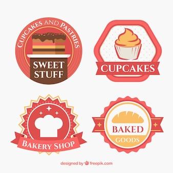 Kolekcja naklejek piekarniczych w stylu płaski