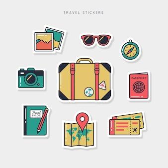 Kolekcja naklejek płaskich podróży