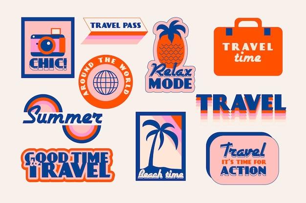 Kolekcja naklejek podróżnych w stylu lat 70