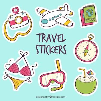 Kolekcja naklejek podróżnych z elementami