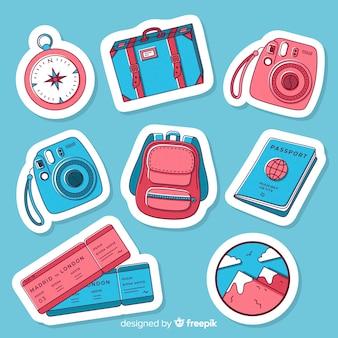 Kolekcja naklejek podróżnych