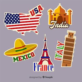 Kolekcja naklejek podróżujących po krajach