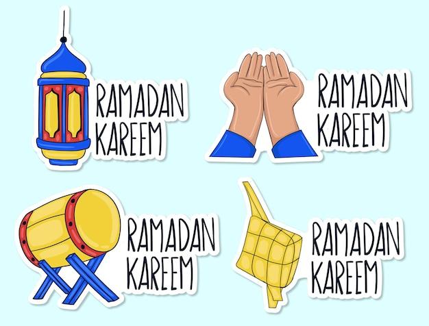 Kolekcja naklejek ramadan kareem