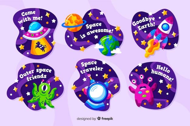 Kolekcja naklejek space fluid design