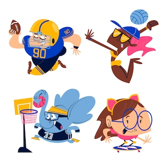 Kolekcja naklejek sportowych z kreskówek