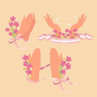 Kolekcja naklejek symbol modlitwy dłoni.