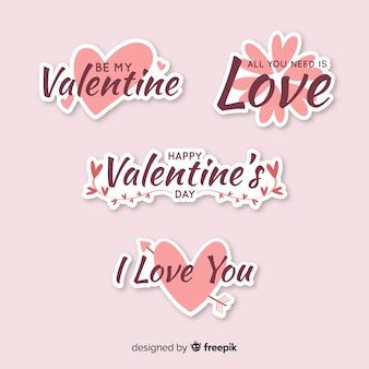Kolekcja naklejek valentine