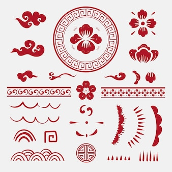 Kolekcja naklejek wektorowych chińskie kwiaty czerwone red