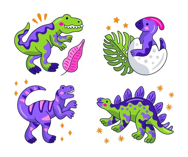 Kolekcja naklejek z dinozaurami kawaii