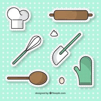 Kolekcja naklejek z narzędzi piekarniczych w stylu płaski