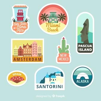 Kolekcja naklejek z podróży po mieście
