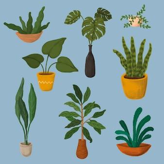 Kolekcja naklejek z roślinami doniczkowymi