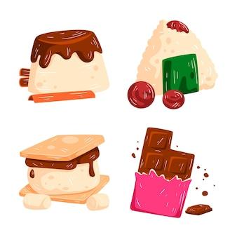 Kolekcja naklejek z ulubionymi potrawami i napojami