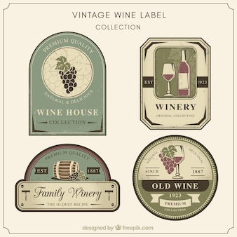 Kolekcja naklejek z winem retro