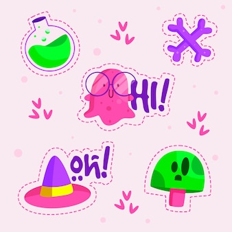 Kolekcja naklejek zabawnych ręcznie rysowane w kwasowych kolorach