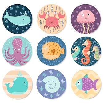 Kolekcja naklejek ze słodkimi zwierzętami morskimi.
