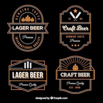 Kolekcja naklejki piwa w stylu vintage
