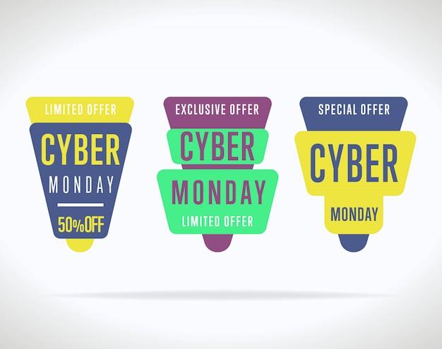 Kolekcja naklejki sprzedaż cyber poniedziałek na białym tle