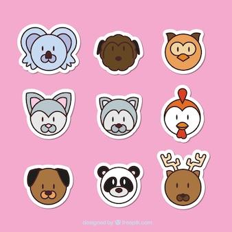 Kolekcja naklejki z emotikony zwierząt