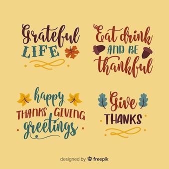 Kolekcja napis happy thanksgiving