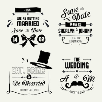 Kolekcja napis wesele