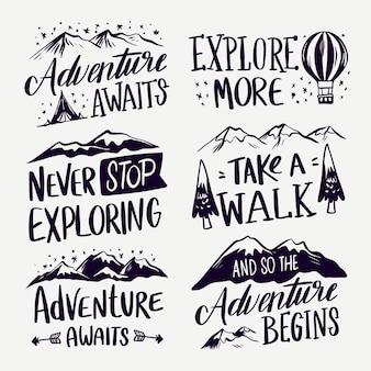 Kolekcja napisów camping i przygody