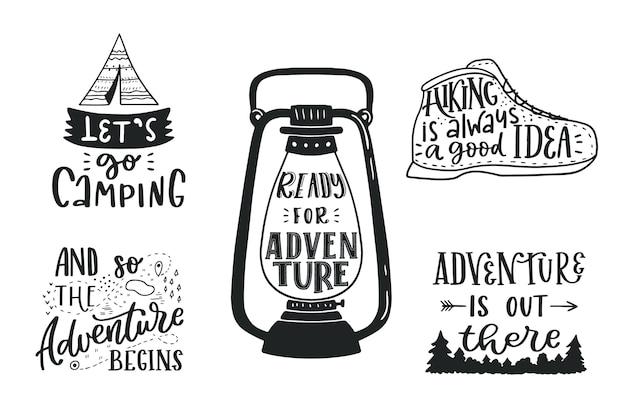 Kolekcja napisów camping