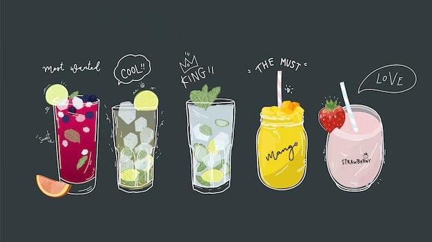Kolekcja napojów bezalkoholowych i zdrowych napojów detoksykacyjnych.