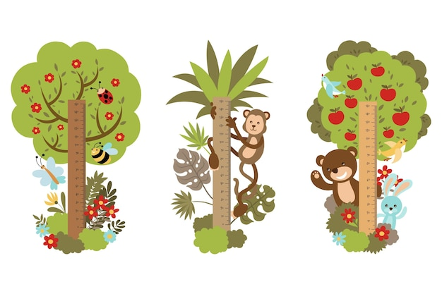 Kolekcja narysowanego miernika wysokości z drzewami