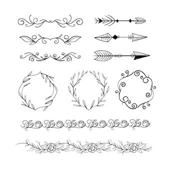 Kolekcja narysowanych elementów ozdobnych