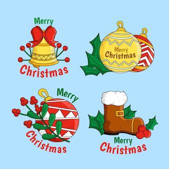 Kolekcja narysowanych etykiet świątecznych