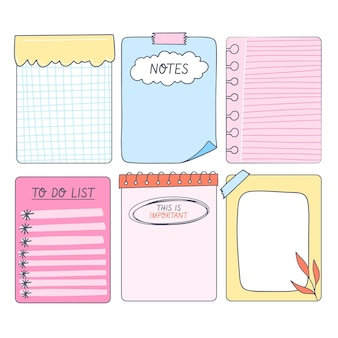 Kolekcja narysowanych notatek i kart w notatniku