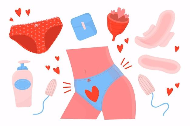 Kolekcja narysowanych produktów higieny kobiecej