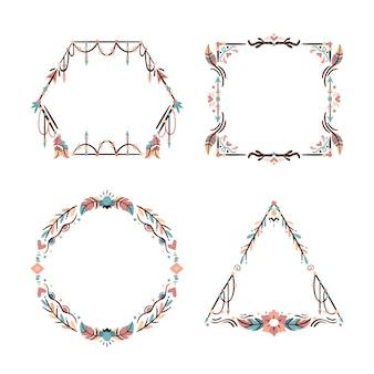 Kolekcja narysowanych ramek boho
