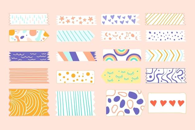 Kolekcja narysowanych różnych taśm washi